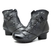 SOCOFY Vintage Handmade Floral Pattern Zipper Ankle Leather Boots