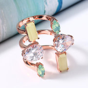JASSY® 18K Emerald Marquise Pear Cut Diamond Anillos Open End Knuckle Rings Anillo de compromiso de zirconia