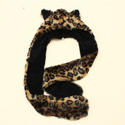 Winter Artificial Faux Animal Fur Hat Plush Cartoon Cap Hood Scarf Shawl Gloves