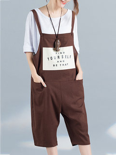 Casual Printed Strap Pockets Shorts Overalls Jumpsuits  For Women