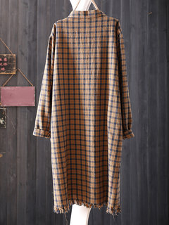 Casual Loose Plaid Button Fly Mulheres Camisas Longas