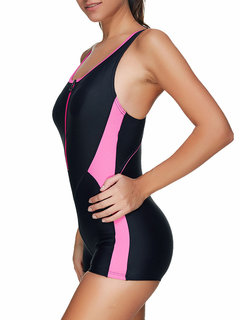 Front Zipper Patchwork Professional Sports One Pieces para Mujeres