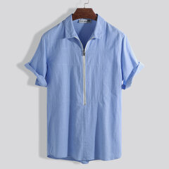 Mens Zipper Turn Down Collar Solid Color Short Sleeve Comfy Loose Henley Shirts