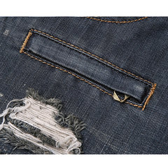 Casual Patchwork Washed Holes Hip-hop Slim Fit Jeans para homens