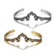 Étnica Flor Liga Pulseira Aberta Ouro Sliver Crown Hallow Bracelet Para As Mulheres