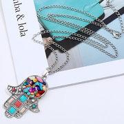 Collana pendente africana retrò testa Colorful collana di strass per le donne
