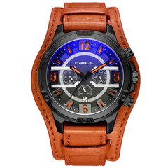 Роскошные мужские кожаные часы 3 циферблата 30M Водонепроницаемые спортивные военные часы Кварцевые часы для мужчин