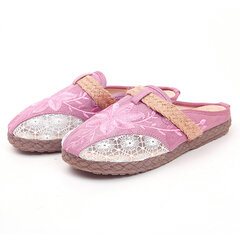 Women Comfy Closed Round Toe Floral Embroidery Mesh Flat Slippers