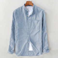 Mens Cotton Striped Vintage Atmungsaktiv Loose Fit Langarm Mode Freizeithemd