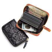 RFID Women Genuine Leather Floral Oil Wax 10 Card Slot Holder Wallet