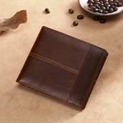 RFID Antimagnetic Retro Genuine Leather Driver License Trifold Wallet For Men