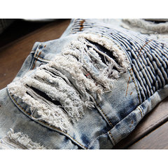 Motocicleta Vintange Holes Folds Ripped Washed Jeans para homens