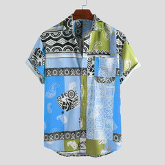 Mens Ethnic Style Abstract Printing Short Sleeve Loose Casual Shirts With Pocket