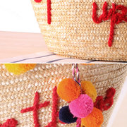 Colorful Yarn Ball Grass Beach Bag Shoulder Bag For Women