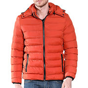 Men's Classic Casual Waterproof Soft Warm Safe Zipper Pockets Solid Color Slim Fit Hooded Down Coat