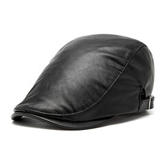 Men Women  Vintage PU Leather Beret Cap Casual Outdoor Windproof Duck Hat Adjustable Newsboy Cap