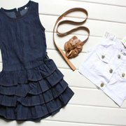3Pcs Lovely Toddlers Girls Clothing Set (Denim Layered Dress + Petal Belt + Sleeveless Coat) 1Y-7Y