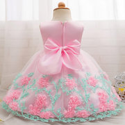 3D Flower Patch Girls Party Pageant Dresses For 6-24M