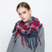 Women Cotton Plaid Pattern Ring Collar Scarf With Tassels Casual Fashion Neck Warm Scarves