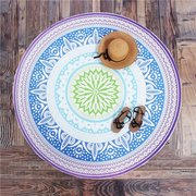 Round Blue Beach Towel Shawl Yoga Mat Tapestry Wall Hanging Decor