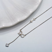 JASSY Sweet I DO Y-Neck Charm Necklaces Dazzling Zirconia 925 Sterling Silver Engagement Necklaces