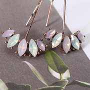 JASSY® Women Elegant Earrings Platinum and Rose Gold Plated Gemstone Flower Leaf Anallergic Ear Drop