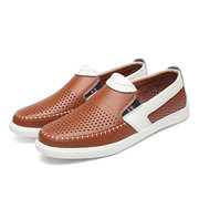 Men Stitching Color Blocking Hole Breathable Trainers Slip On Leather Loafers
