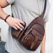 Ekphero Vintage en cuir véritable grande capacité sac de voyage sac bandoulière pour les hommes