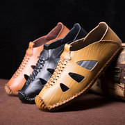 Men Hand Stitching Soft Sole Hole Breathable Leather Loafers