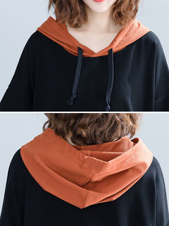 Fake Two Pieces Long Sleeve Casual Hooded Sweatshirt