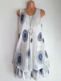Ethnic Sleeveless Double-layer Print Dress