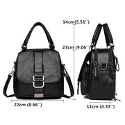 Women Retro Soft PU Leather Multi-function Handbag Double Layer Solid Backpack