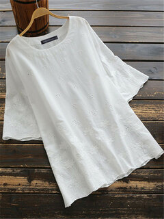 Vintage Embroidery Hollow Short Sleeve Blouse