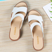 Stitching Pure Color Opened Toe Flat Casual Slippers