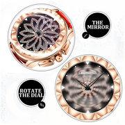 Luxuxleder-drehbare Diamant-Blume passt bunte wasserdichte vorzügliche Uhren für Frauen auf