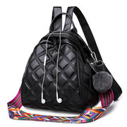 Argyle Quilting PU Leather Backpack School Shoulder Bag For Women