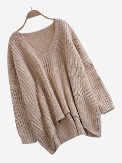Solid Color Loose V-neck Bat Sleeve Asymmetry Sweaters