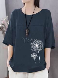 Summer Flowers Print Casual Plus Size T-shirt