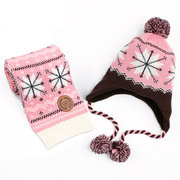 Snowflake Pattern Wool Cotton Soft Kids Winter Scarf + Hat Set For 0-12 Years