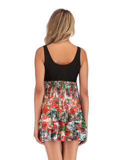 Plus Size Floral Print Cover Belly Swimdresses