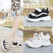 Seasonal Sponge Cake With Color Matching Casual Sandals Female Mesh Breathable Student Women's Shoes Sandals