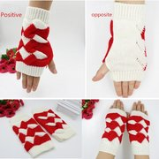Crochet Knitted Fingerless Gloves Mixed Color Check Hand Wrist Warmer Mittens
