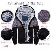 رجل الشتاء سميكة الصوف الدافئة اصطف خياطة هوديس عارضة سستة قمم البلوز
