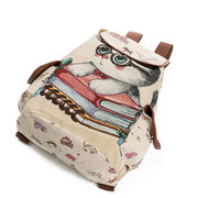 Canvas Casual Cartoon Cat Pattern Sac scolaire Sac à dos Sacs à bandoulière Sacs pour étudiants