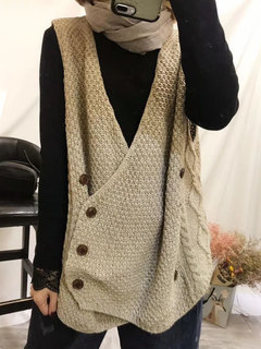 Solid Color Irregular Sleeveless Cardigan For Women