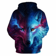 Unisex Star and Wolf Digital 3D Printing Long Sleeve Casual Fashion Hooded Tops
