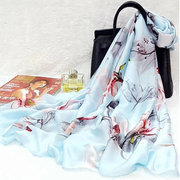 New Printed Thin Section Scarf Sunscreen Scialle New Silk Satin Scarf Wild Rectangular Scarf
