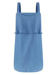 Denim Solid Color Spaghetti Strap Pregnant Women Top