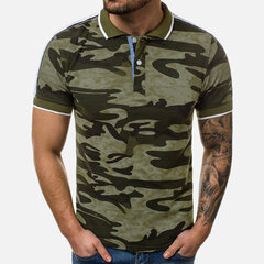 Mens Camouflage Printed Casual Business Short Sleeve Golf Shirt