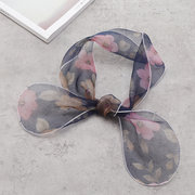 Womens Summer Thin Turban Scarf Double Use Simple Vogue Wild Flowers Silk Scarf